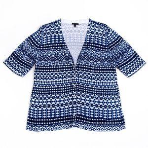 Talbots Blue-Black Print Short Sleeve Sweater Sz L